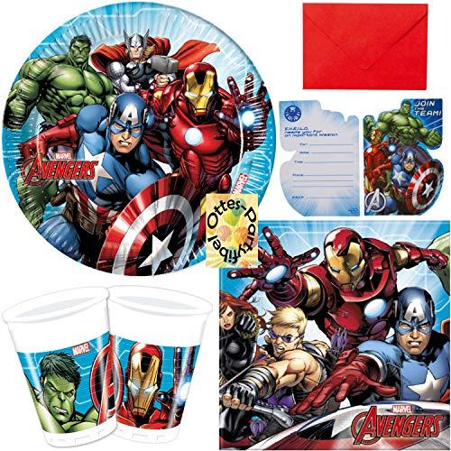 HHO Avengers Power Partyset 68 Teile Teller Becher Servietten Einladung für 16 Kinder