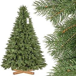 FairyTrees Sapin Arbre de Noêl Artificiel EPICÉA Royal Premium, Matière Mixte PU & PVC, Socle en Bois, 180cm