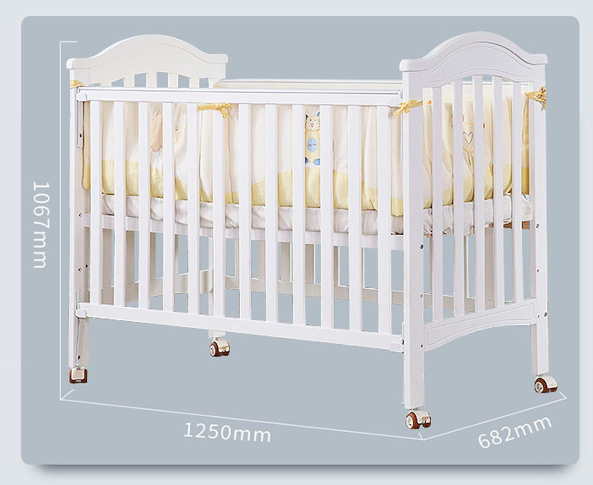 XUNMAIFLB Removable Solid Wood Baby Cot Bed, Multifunctional, Baby Bed/children's Bed/Game Bed with Roller (inner Diameter: 1200 * 600mm) Safety XUNMAIFLB Can be spliced with the big bed, convenient for the mother to take care of the baby's full water bed board, real material, no blister, no insects, tight structure, texture and tough and delicate. Rugged and durable: the wood is durable, oil-free, non-discoloring, and does not crack, increasing the life of the bed. Strong load-bearing solid wood bed: widened thick row skeleton + moon boat coconut palm mattress static load capacity 50kg. 7
