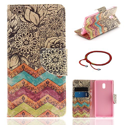 GOCDLJ Coque pour Nokia 3 PU Case Leather Wallet Flip Cover Couvrir Coverture Cas Sac Coquille Shell Etui Housse Forme du Couteau Conception Wave Flower