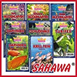 SAHAWA® Frostfutter 5 Blister, Zierfischfutter, Süßwasser, Discus, Barsche, Guppys, Rote Mückenlarven (Quartett)