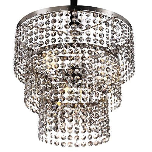 Dcqao Kreis Achteckige Form Kristall Hängelampen Luxuriöse K9 Kristall Kronleuchter Wohnzimmer Leuchte E27 Edison Pendelleuchte for Esszimmer Badezimmer Schlafzimmer (Color : Brown)