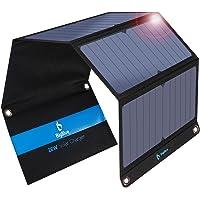 BigBlue 28W tragbar Solar Ladegerät 2-Port USB 4 wasserdichte Solarpanel mit digital Amperemeter und Reißverschluss zum…