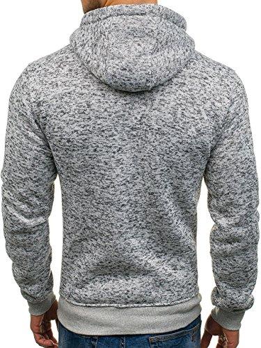BOLF Herren Kapuzenpullover Sweatshirt Langarmshirt Pulli Hoodie Basic 1A1 Grau_AK31