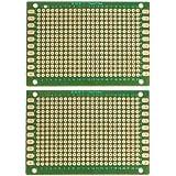 2 piezas de una sola cara tabla de placa perforada de circuito impreso de prototipos verde 5 x 7 cm