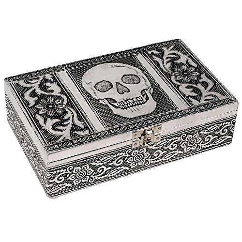 HAB & GUT (BOX011V) Caja joyero de aluminio, CALAVERA, 20 x 12 x 6 cm