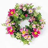 Künstlicher Frühlingskranz mit Margeriten, Rudbeckia, rosa, Ø 30 cm -...