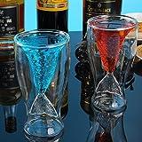 TouchLife Creative Personalized Tazza da tè in Vetro Doppio Parete Red Wine Cup, a Doppio Strato, Sirena a Forma di Coda, 150ML, 124,7Gram, Set di 2