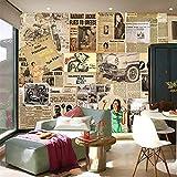Fototapete 3D Effekt Tapete Zeitung Retro Kreativ Vliestapete 3D Wallpaper Moderne Wanddeko Wandbilder