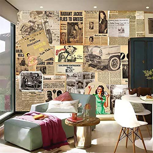 Retro-moderne-tapete (Fototapete 3D Effekt Tapete Zeitung Retro Kreativ Vliestapete 3D Wallpaper Moderne Wanddeko Wandbilder)