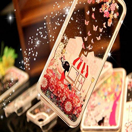 iPhone 6 Hülle iPhone 6S Hülle,iPhone 6S Case,EMAXELERS Cute Weißes Kleid Mädchen Muster Hart Transparente Hülle Case Cover Fairy Mädchen Serie 3D Glitter flüssigkeit Schwimmende Veränderung farbe Pai Girl Series 6