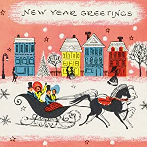 V&A Christmas Cards - New Year Sleigh (Pack of 10, Square)||RF20F||EVAEX