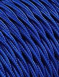 10Meter, 2Core 3Kern Twisted 3Core rund geflochten Kabel Elektrische Draht Vintage Flex Stoff Draht Höhe Qualität UK Beleuchtung Wire Kabel, Textil, dunkelblau, 3Core Twisted, vintage cable