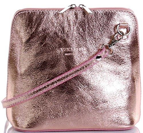 Primo Sacchi Italienisches Leder handgefertigten Rose Gold klein/Micro Umhängetasche oder Schultertasche Handtasche.Beinhaltet eine schützenden Aufbewahrungstasche gebrandmarkt. (Rosa Und Gold Handtasche)