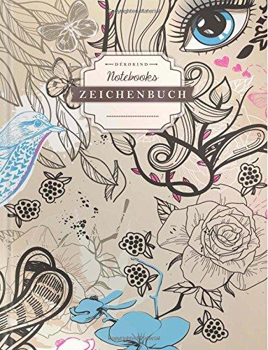 DÉKOKIND Zeichenbuch: DIN A4, 122 Seiten, Register, Vintage Softcover | Dickes Blanko-Notizbuch zum...