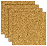 "The Board Dudes Board Dudes 6"" X 6"" Light Cork Tiles, 4-Pack (CXP78)"