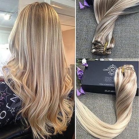 Full Shine 16 Pouces/40cm 9Pcs 120g/Set Nordic Balayage Clip dans Ombre Extensions de Cheveux Humains Extensions de Cheveux Epais Blonde de Couleur Blonde au Miel Blonde et Bleach