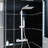 Panana mehrfunktional Duschsystem mit Thermostat Chrome Eckig Duschbrause Handbrause Brause Duscharmatur Überkopfbrause Regendusche Regenbrause mit Duschpaneel - 200MM