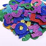 Glitter Schaumstoff Aufkleber Buchstaben Sticker Selbstklebend Buchstaben, Buchstaben A bis Z, 5 Set, Mehrfarbig, Insgesamt 130 Stück