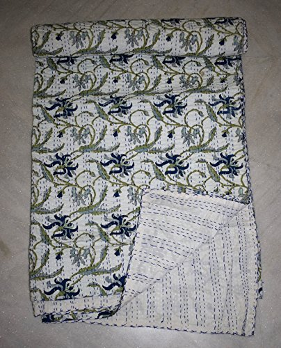 Tribal Asian Textiles Indian Queen Size Baumwolle Kantha Quilt Floral Print Tagesdecke Wendedecke - Asian Floral Print
