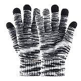 asiproper Men Women Winter Plush Touch Screen Thicken Warm Elastic Knitted Gloves