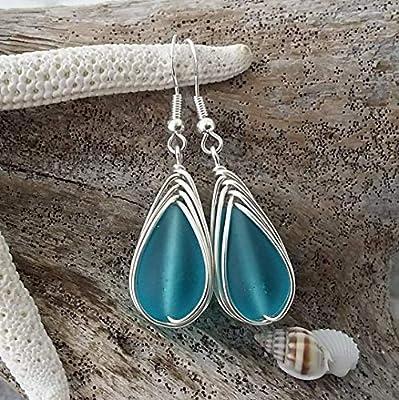 Fabriqué à la main à Hawaii, boucles d'oreilles en verre tressé bleu spécial, crochets en argent sterling, cadeau hawaïen, emballage-cadeau GRATUIT, message cadeau GRATUIT, envoi GRATUIT