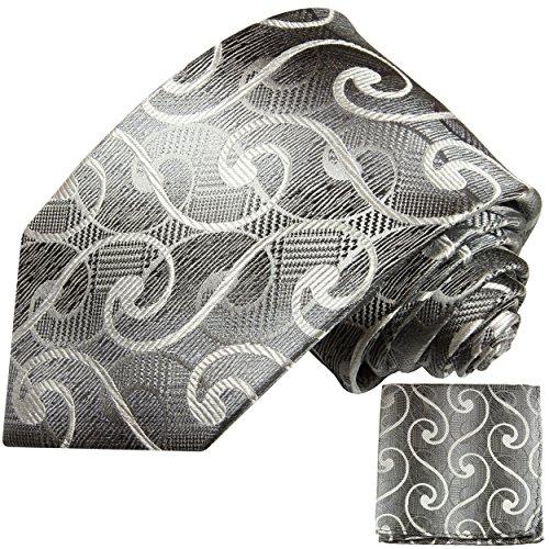 Argent blanc ensemble de cravate 2 Pièces ( 100% Soie Cravate + Mouchoir )