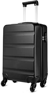 Kono Horizontal Design ABS Hard Shell 20 Inch 55cm Cabin Suitcase 4 Wheeled Spinner Luggage (Small 20