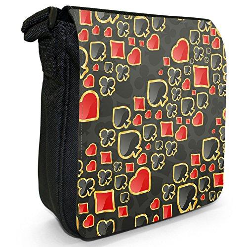 Fancy A Snuggle, Borsa a tracolla donna Kartenfarben Muster Schwarz & Rot
