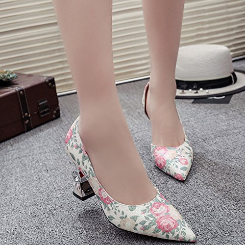 Oasap Women's Pointed Toe Slip-on High Heels Floral Pumps Blue