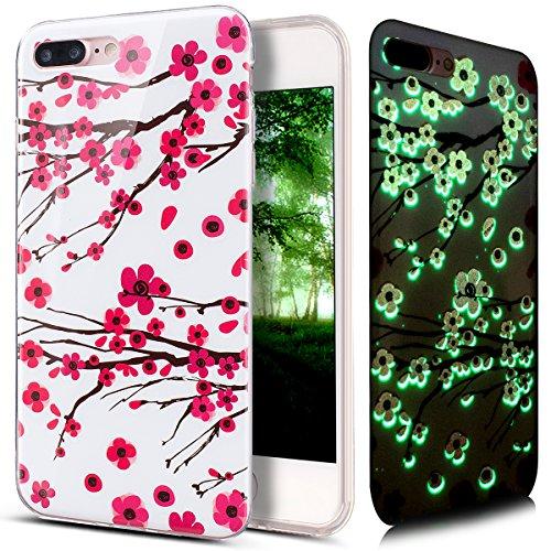 Coque iPhone 7 Plus, Étui iPhone 7 Plus, iPhone 7 Plus Case, ikasus® Coque iPhone 7 Plus Effet lumineux Fluoré fluorescent Brillent dans le noir Housse en caoutchouc IMD TPU Silicone Étui [Résistant a Fleur de prunier