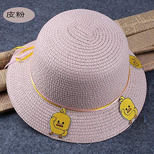 A-YSJ Sonnenhut Baby Visier Hut Print Dome Bowl Cap Cool Hut Kinder Strohhut Strand Männer und Frauen @ Leder Powder52Cm -