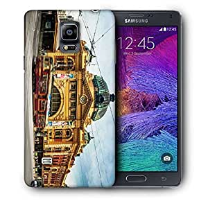 Snoogg Yellow Building Printed Protective Phone Back Case Cover For Samsung Galaxy NOTE 4 / NOTE IIII