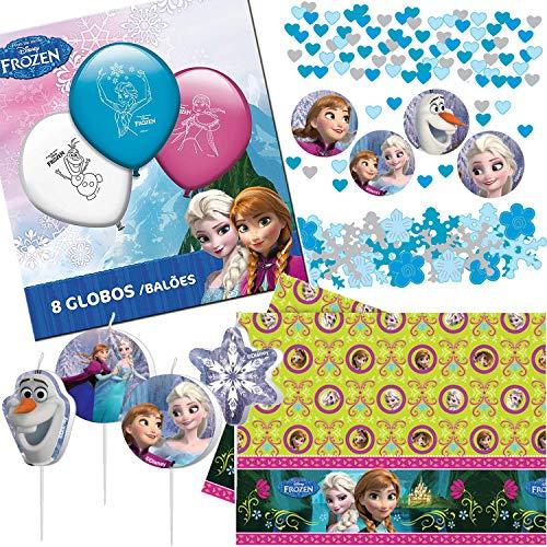 Procos/Carpeta 39-TLG. Deko-Set * Frozen * mit Tischdecke + Konfetti + Kerzen + Ballons | Kinder Geburtstag Kindergeburtstag Party Motto ELSA Eiskönigin Disney Anna