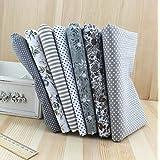 Retales de algodón para bordado de colchas, diseño de flores, color gris, 50x 50cm, 7 unidades