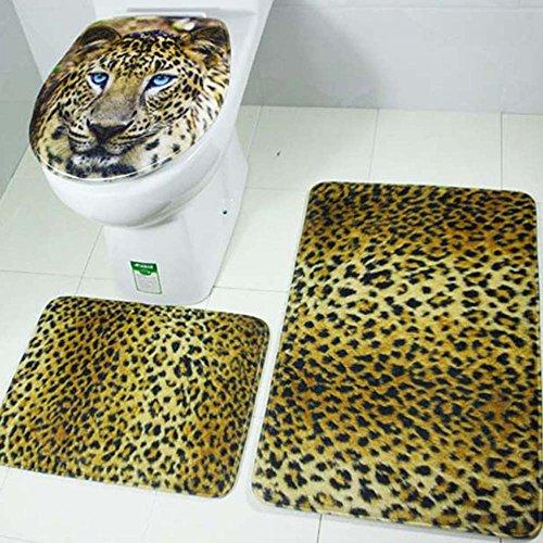 LINGJUN 3 Piezas Alfombrilla Antideslizante Para Bañera Alfombra Antipolvo de Retrete+Alfombra U para Pies de Ventosas de Seguridad+Alfombra Rectángula Impermaeable (Leopardo)