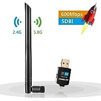 Moglor Clé WiFi Dongle Adaptateur USB sans Fil Mini Double Bande 600Mbps (2.4G/150Mbps + 5G/433Mbps) Compatible avec Windows XP/VISTA/7/8/8.1/10 Linux Mac OS (New 600Mbps)