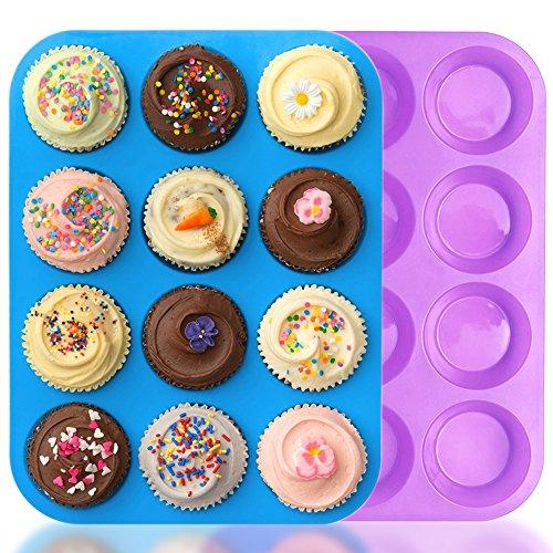 IHUIXINHE Muffinblech aus Silikon für 12 Muffins, antihaftbeschichtet, Cupcakes, Brownies, Kuchen, Pudding, Muffinform, Bonus 1 Telefonseil (Blau & Lila)