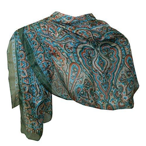 Schal Seide grün 170x50cm Paisley Halstuch Stola Accessoire Indien