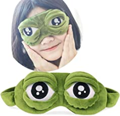 Voberry Hot Sale Eye Mask! Cartoon Sad Frog 3D Eye Mask Cover Sleeping Rest Travel Relax Blindfold Funny Gifts (Green) one size Green