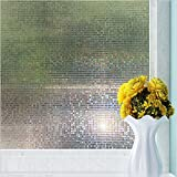 New Lifetree Vinyl Mini Mosaic Non-Adhesive Frosted Privacy Window Film, Decorative Window Glass Film(White,45*200CM)