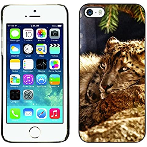 LASTONE PHONE CASE / Premio Sottile Slim Cassa Custodia Case Bandiera Cover Shell per Apple Iphone 5 / 5S / Leopard Furry Beast Nature Animal Cat