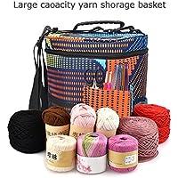 Bolso de tejer Bloomma de poliéster, bolsa de almacenamiento con ganchillo y agujas, accesorios de lana con correa para el hombro, 27,5 cm x 32,5 cm