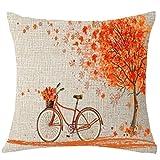 Xshuai Kissenbezug kissenhülle Kissen Set Schöne Herbst Baum Ahorn Fahrrad Kissenbezug Dekor 18x18 Zoll