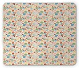 Seashell Mouse Pad, Tropical Beach Themed Background with Nautilus Scallops Cockle and Oyster Figures, Standard Size Rectangle Non-Slip Rubber Mousepad, Multicolor 9.8 X 11.8 inch