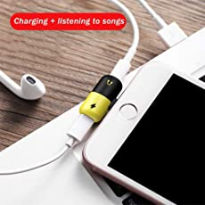 Lilypin® 2 in 1 Lightning Adapter Dual Lightning Headphone Audio & Charge Adapter, Splitter for iPhone 7/8/X/7 Plus/8Plus/iPad, (Black & Yallow