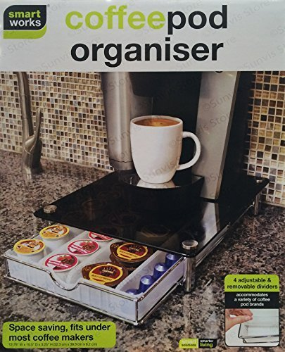 Smart Works New Stackable Coffee Pod & Capsule Drawer/Organiser with Glass Top Test