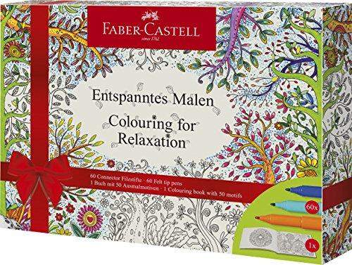 Faber-Castell 201432 – Caja de 60 rotuladores conectores y libro para colorear con 50 ilustraciones, multicolor