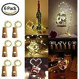 LED Corcho Luces para Botella BINKEN 20 LED [6pcs 2m] Luces de Secuencia de Cobre, Lámpara en Cuerda de Corcho Botella Vino DIY para Fiestas, Boda, Bar, Party, Cumpleaños y Jardín (Blanco Cálido)