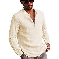Carolilly Camicia da Uomo Manica Lunga in Lino di Cotone con Bottoni Camicia Uomo con Collo in Piedi Tinta Unita…